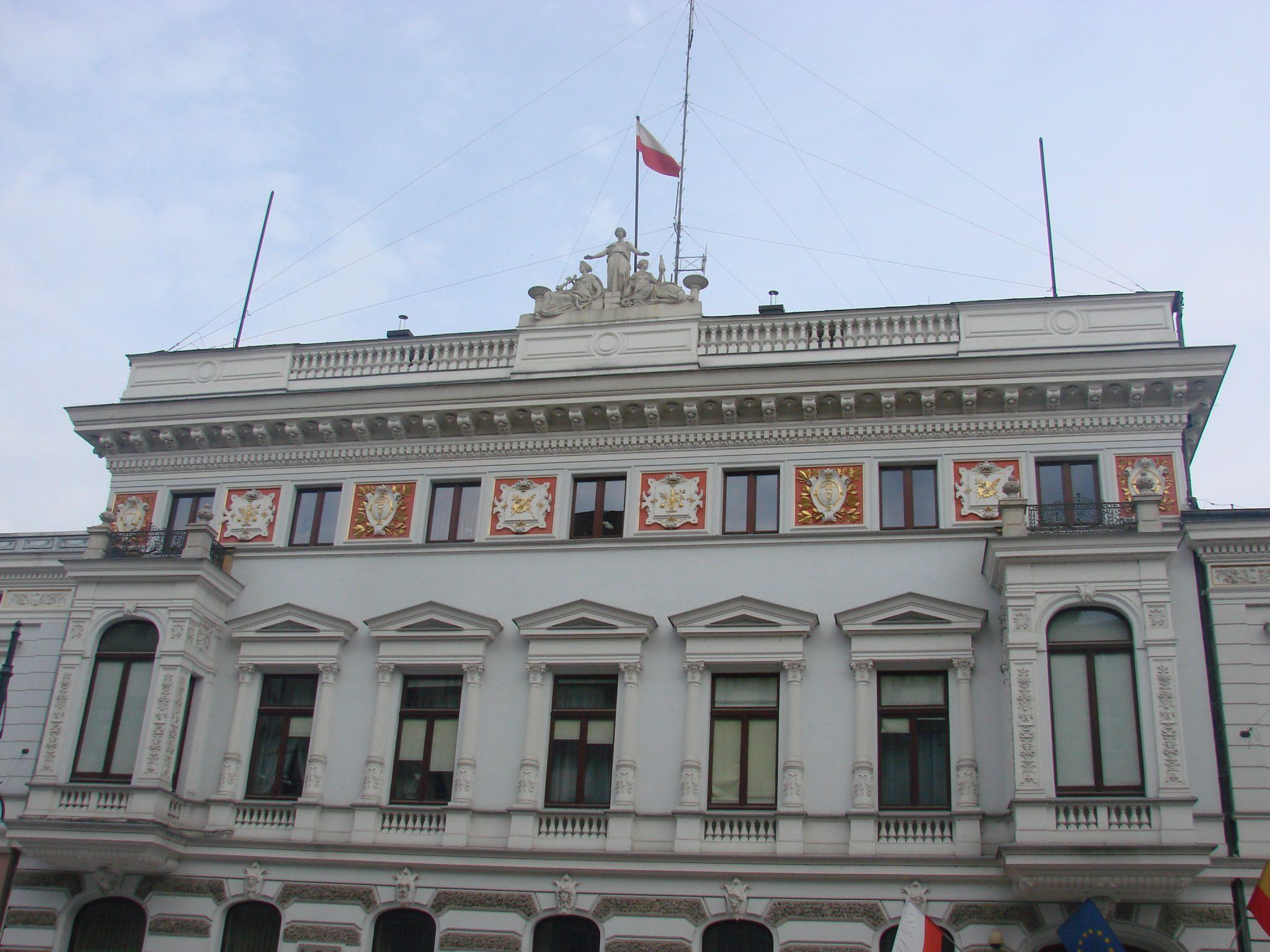 Widok na elewacje frontową pałacu Juliusza Heinzla w Łodzi – obecnie urząd miasta Łodzi przy ulicy Piotrkowskiej